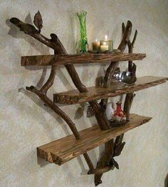 Wood and branch shelf