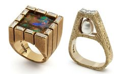 Opal and swinging pearl rings by Andrew Grima