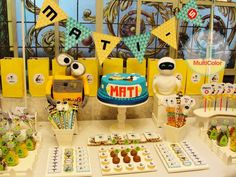 Wall-E boy birthday party dessert table! See more party planning ideas at CatchMyParty.com!
