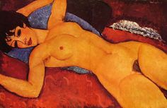 """artist-modigliani: """"Sleeping Nude with Arms Open (Red Nude), Amedeo Modigliani Size: cm Medium: oil on canvas"""" Amedeo Modigliani, Modigliani Paintings, Maria B, Expressionist Artists, Free Art Prints, Learn Art, Italian Painters, Oil Painting Reproductions, Canvas Art"""