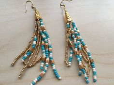 "Gorgeous handmade 4"" turquoise, pearlized and gold seed beads with square Miyuki gold Tassel Earrings with ear hook."
