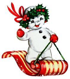 A darling little vintage snowman on a toboggan. #vintage #Christmas #illustrations