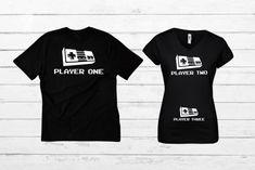 Pregnancy Announcement Shirt Video Game Baby Announcement Family Shirts Player 1 Player 2 Player 3 P Expecting Baby Announcements, Pregnancy Announcement Shirt, Pregnancy Shirts, Player One, Heat Press Vinyl, Baby Games, Family Shirts, Baby Fever, Toddler Activities