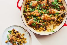 Weekly Meal Plan: Chicken Tagine, Shrimp Tacos, and Easy Nextover Pasta — Epicurious Chicken Drumstick Recipes, Chicken Recipes, Rice Recipes, Veggie Recipes, Cooking Recipes, Healthy Recipes, One Pan Chicken, Chicken Legs, Chicken Thighs