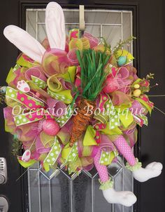 Last One! Easter Wreath, Easter Bunny Wreath, Easter Door hanger, Whimsical Wreaths, Spring Wreath, Front door Wreaths, Ready to Ship by OccasionsBoutique on Etsy