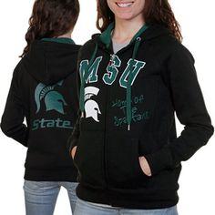 #Fanatics Michigan State Spartans Ladies Black Track Meet Full Zip Hoodie Sweatshirt