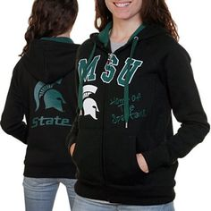 #Fanatics Michigan State Spartans Ladies Black Track Meet Full Zip Hoodie Sweatshirt