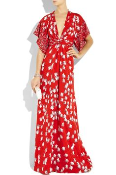ISSA Printed silk kimono-style maxi dress -- would need a camisole or something underneath
