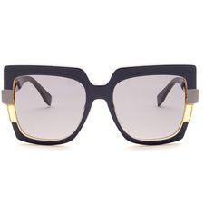65fe0efcb89 Fendi New Black Square Large Colorblock Sunglasses