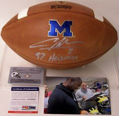 Charles Woodson Autographed Hand Signed Official Michigan NCAA Game Model Football - PSA/DNA!