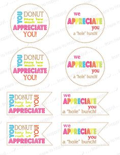 Donut, Holes-Teacher gifts, teacher appreciation, thank you note, gift tag,