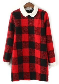 Red Plaid V-neck Above Knee Wool Dress