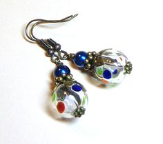 Jewelry, Earrings, Blue, Green, Red Hand Blown Hollow, Cobalt Glass Pearl, Antique Brass. $8.00, via Etsy.