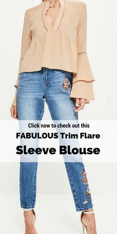 Click now to check out this cute Trim Flare Sleeve Blouse (Affiliate) http://shopstyle.it/l/oNr Summer Outfits, Summer Outfits Women, Summer Outfits 2017, Summer Outfits For vacation, Summer Outfits boho, Casual Outfits, Casual Outfits Spring, Casual Outfits Summer, Casual Outfits For teens, Fashion, Fashion style, Fashion 2017, Fashion Style women, Fashion Style summer
