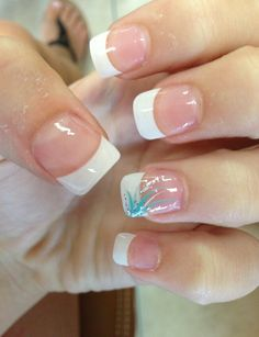 Prom nails, french manicure with colored accent