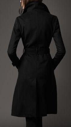 Black Long Cashmere Blend Coat on Burberry