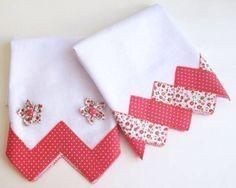 Pretty Pink Set of Tea Towels Dish Towels, Hand Towels, Tea Towels, Fabric Crafts, Sewing Crafts, Sewing Projects, Quilt Patterns, Sewing Patterns, Quilt Border
