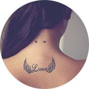 Angel Wings Love Tattoo Design: Upper Back