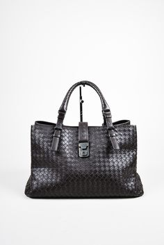 """Bottega Veneta brown calf leather intrecciato """"Roma"""" triple compartment tote bag. Features magnetic top and strap closure. Adjustable dual handles. Suede lined?̥ÌÎ_interior features zipper and cell ph"""