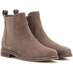 Loro Piana Montrond Suede Chelsea Boots (€1.080) ❤ liked on Polyvore featuring shoes, boots, ankle booties, ankle boots, botas, beige, suede bootie, beige booties, suede ankle bootie and short boots