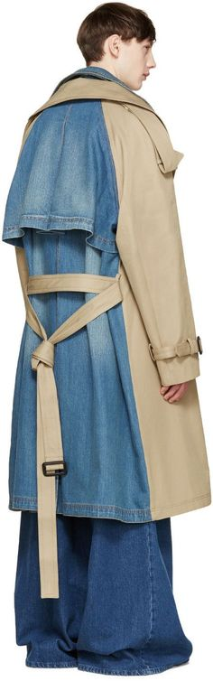 Juun.J Khaki & Blue Layered Trench Coat