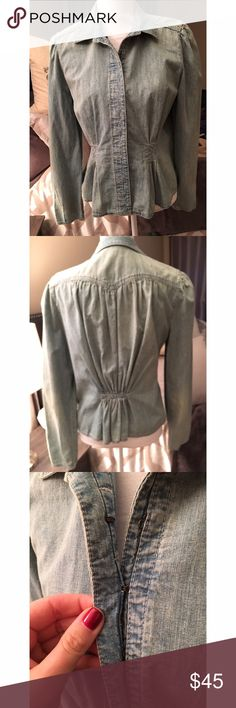 Ralph Lauren denim blazer Very pretty button up jean jacket/blazer by Ralph Lauren. Button closures are hook and eye and they are covered for a clean look (see pic 3.) this is in excellent used condition. Size large. Lauren Ralph Lauren Jackets & Coats Blazers