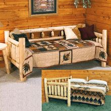 Our American-made white cedar log daybed with roll-out/pop-up trundle.  Check it out now.