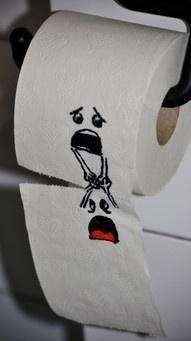 tissue paper art, next time you're bored leave this on the toilet paper and see how your family reacts!