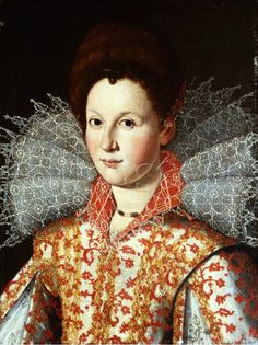 Portrait of a lady wearing an embroidered dress with lace ruff collar; Studio of Santi di Tito (1536–1603)
