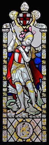 St.George, panel from North window, St.Andrews, Curry Rivel, Somerset. | da Phajus