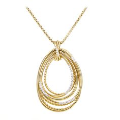 David Yurman Diamond Gold Teardrop Pendant Necklace | From a unique collection of vintage necklace enhancers at https://www.1stdibs.com/jewelry/necklaces/necklace-enhancers/