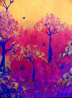 Van Gogh (?)   Vibrant trees and fallen leaves