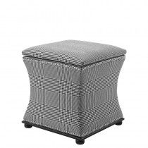 Smart black and white dogtooth check pattern upholstered storage stool seat from Eichholtz. This elegant stool is finished with shiny nickel stud detailing to complete the luxury look. As well as a stylish addition, the stool is functional with a conce Upholstered Stool, Ottoman Stool, White Stool, Storage Stool, Luxury Living, Outdoor Furniture, Outdoor Decor, Timeless Design, Getting Organized
