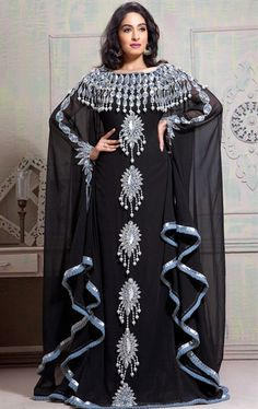Picture of Butta Black Arabic Kaftan Dress