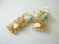 Handmade brass wire crochet  earrings . by ePandora on Etsy, $23.00