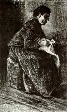 Woman Sitting on a Basket, Sewing. 1883. Vincent van Gogh: The Drawings