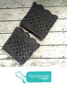 Grey Boot Cuffs Crochet Gray Short Calf Leg Warmers Handmade from MoomettesMagnificents https://www.amazon.com/dp/B01LX28VST/ref=hnd_sw_r_pi_dp_c157xbNB43HXQ #handmadeatamazon