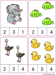 Animals Count and Clip Cards (Numbers 1-20)