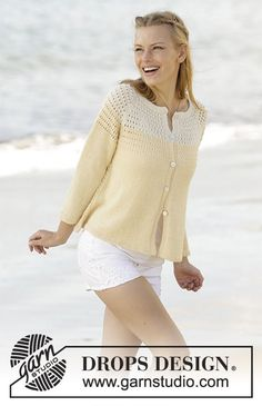Vanilla Cream cardigan with lace pattern on yoke, raglan and worked top down by DROPS Design Free Knitting Pattern Free Knitting Patterns For Women, Knit Patterns, Drops Design, Knit Cardigan Pattern, Summer Knitting, Circular Knitting Needles, Alpacas, Cardigans For Women, Pulls
