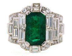 1960's BULGARI 3.07ct EMERALD DIAMOND & PLATINUM RING -Magnificent! Original Box ~ $31,200.00 ~ Jan. 2015