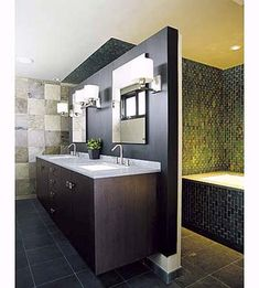 76 Fantastic Truly Masculine Bathroom Décor Ideas: 76 Fantastic Truly Masculine Bathroom Décor Ideas With Marble And Wooden Washbasin And Wall Mirror And Lamp And Bathtub And Ceramic Floor Bathroom, House, House And Home Magazine, Bathroom Decor, Masculine Bathroom, Bathroom Design, Modern Bathroom Wall Decor, Green Bathroom, White Bathroom Tiles
