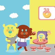 Tea time !! #澳門插畫 #uniquefamily  #puppyp #garbi #hotchoco #beep #design #ill #插畫 #donuts #甜甜圈 #illustration #drowning #meeting #下午茶 #dessert