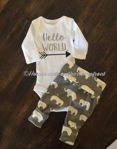 Hello world newborn coming home outfit, gender neutral, elephant outfit