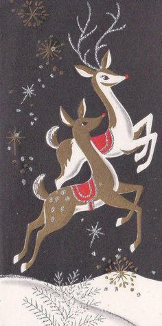 Retro Christmas Card with Flying Reindeer Vintage Christmas Images, Christmas Deer, Merry Little Christmas, Retro Christmas, Vintage Holiday, Christmas Pictures, Christmas Greetings, Holiday Cards, Christmas Holidays