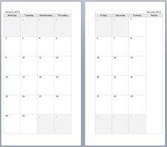 Free Monthly Filofax diary templates