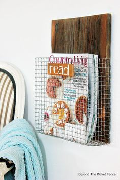 Wire Mesh Magazine Holder, Project Challenge, http://bec4-beyondthepicketfence.blogspot.com/2015/08/project-challenge-chicken-wirescreen.html