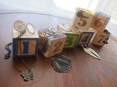 Beautiful Christian Jewelry. baby blocks used for jewelry update.  Buy Faith&Works jewelry on Etsy while it lasts.