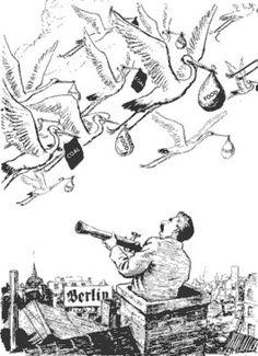 Berlin Blockade-This cartoon of 14 July 1948 by EH Shepard for the British magazine Punch shows Stalin watching as storks fly coal and food into Berlin. The Airlift was three weeks in when this cartoon was drawn.