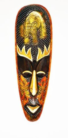 """FIRE GOD"" GOLDEN ELEPHANT MASK WOODEN HAND CARVED MASK JUNGLE ART CARVING M411"