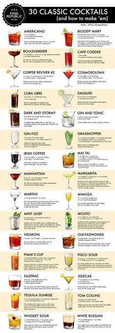 How To Make 30 Classic Cocktails: An Illustrated Guide. Today marks the start of Tales of the Cocktail, the annual summer gathering of bartenders and drinks professionals (and professional… Pisco Sour, Alcohol Drink Recipes, Juice Recipes, Shot Ideas Alcohol, Healthy Alcohol, Healthy Food, Classic Cocktails, Classic Cocktail List, Gin And Tonic